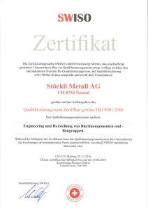 Stöckli Metall AG - ISO 9001 Zertifikat - Qualitätsmanagement