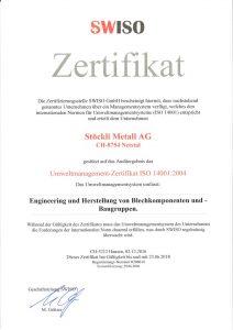 Stöckli Metall AG - ISO 14001 Zertifikat - Umweltmanagement