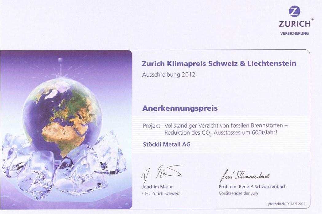 Zurich Klimapreis Schweiz & Lichtenstein 2012