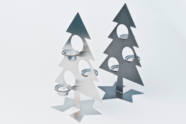 Stöckli Metall Tannebaum Chromstahl laserschneiden, Weihnachten, Deko