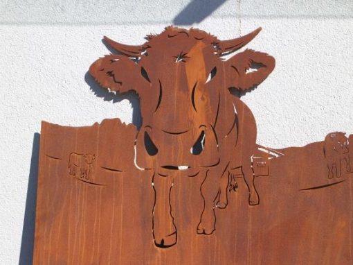 Gartenblech Deko Kuh