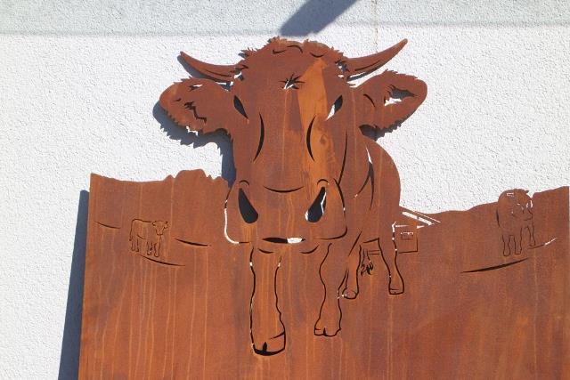 Stöckli Metall rostiges Deko Blech Kuh gelasert