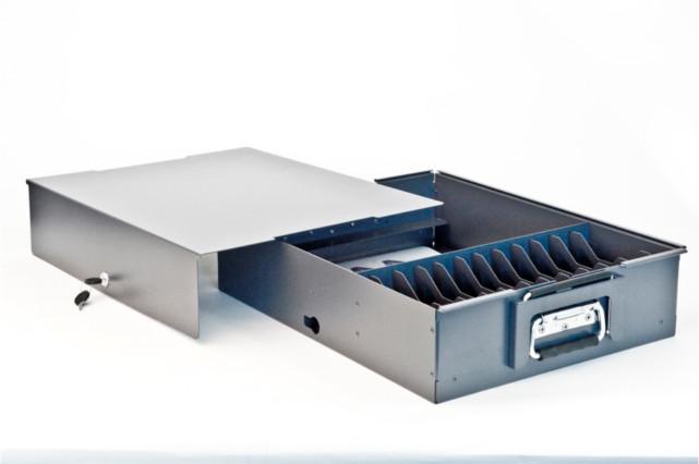 Sheet metal cash box, laser cut, bent, powder coated and assembled