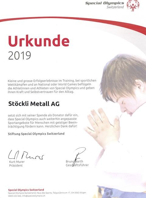 Urkunde Special Olympics Switzerland