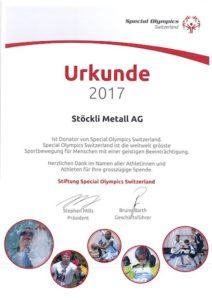 Urkunde Special Olympics Switzerland 2017