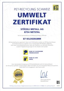 Umweltzertifikat PET-Recycling Schweiz 2019