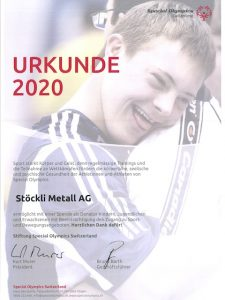 Urkunde Special Olympics Switzerland 2020