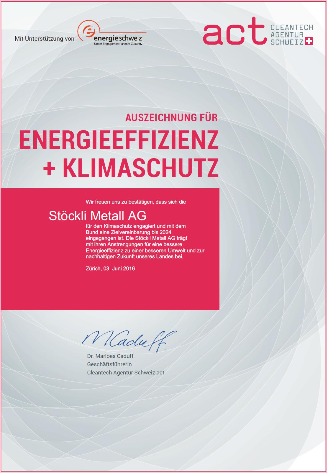 Stöckli Metall AG - Auszeichnung 2016 für Energieeffizienz + Klimaschutz