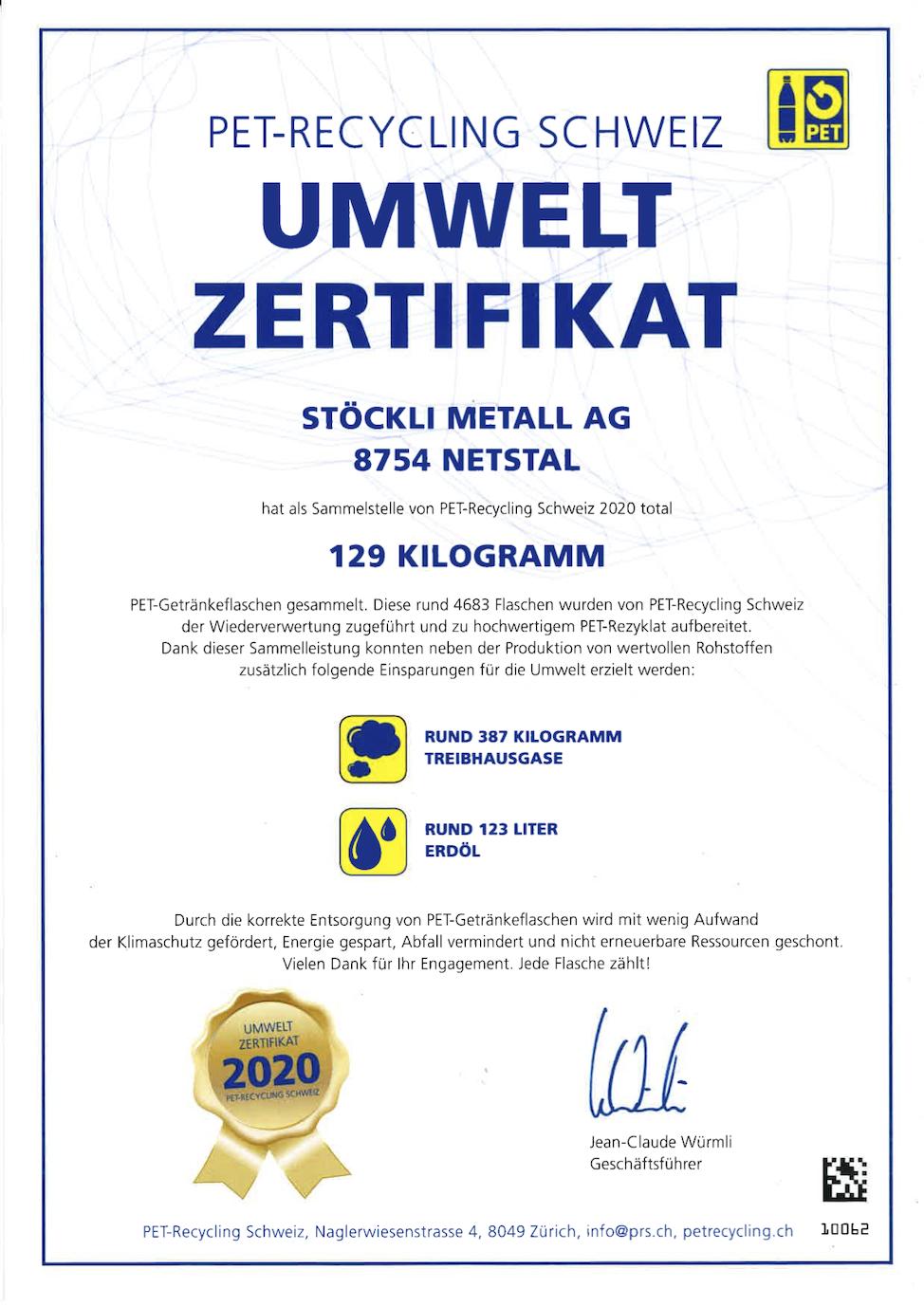 Umweltzertifikat PET-Recycling Schweiz 2020