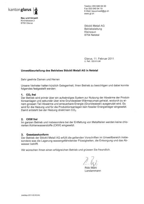 Umweltbeurteilung STM vom Kanton Glarus